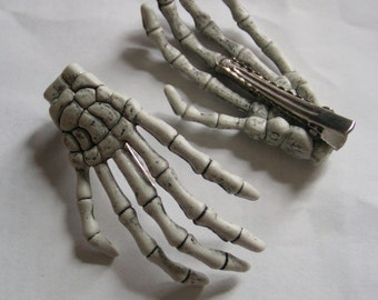Skeleton Hand Hair Clips