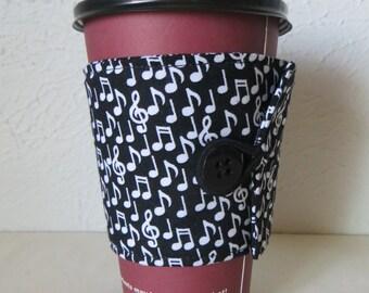 Fabric Coffee Cozy, Music Notes Design