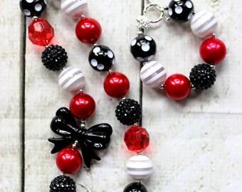 girls chunky bead necklace and bracelet set black and red bubblegum bead necklace matching bracelet set toddler girl Atlanta Falcons