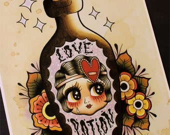 "Love Potion Flapper Doll 11""x14"" Tattoo Flash Print (Other sizes available)"