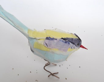 oo----NEW PRICE REDUCTION for Winter---- Recycle Paper Bird Sculpture