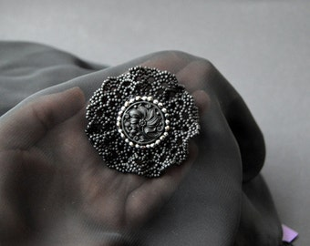 Bead Embroidery Brooch with Beaded Lace and Vintage Button