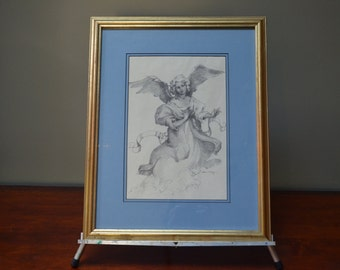 Print of Angel Large Framed Picture of Angel Sketch of Angel Picture Framed Katherine Brown  -  I Ship Worldwide
