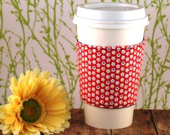 CLEARANCE / Fabric Coffee Cozy / Petite Flowers on Red Coffee Cozy / Flower Coffee Cozy / Red Coffee Cozy / Coffee Cozy / Tea Cozy