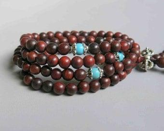 108pcs Red Rosewood Wood Beads Prayer Beads Japa Mala 8mm - A459