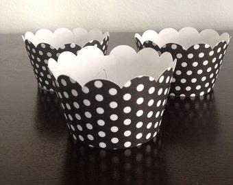 12 Cupcake Wrappers - Black w/ White Polka Dots