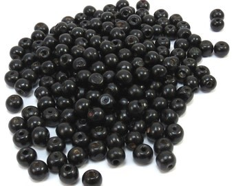Black Wood Beads, 8x7mm Rondelle Beads, 100 Natural Wood Beads,Beading Supplies, Item 345wb