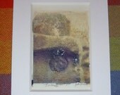 Polaroid Transfer Ireland Stone Carving Matted Photograph Ready to Frame OOAK