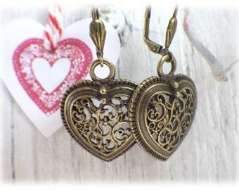 Folk heart - earrings bronze with filigree heart pendant german dirndl