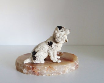Vintage Ashtray Figurine 1950s Cast Iron Springer Cocker Spaniel on Onyx - Ashtray Trinket Tray Office Tidy