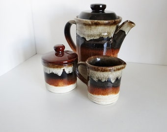 Vintage Coffee Set Ashdale Pottery Products Made in England - Drip Glaze - Coffee Pot, Milk Jug Creamer, Sugar Bowl - 1960s