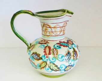 Vintage Stoneware Jug Pitcher Hand Painted by Glyn Colledge, Denby - Signed by Maker 1960s