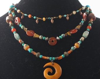 3 strand, adjustable, teal and orange beaded necklace (N130)