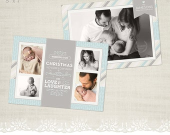 Christmas/Holiday Card Template for Photographers - 5 x 7 Landscape Flat Card - HC09