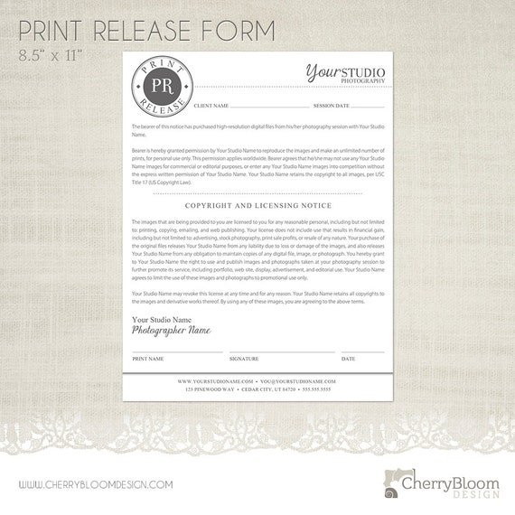 Print Release Form Template For Photographers   Photographer Business U0026  Client Forms   F04