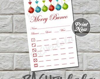 Bunco score card, Christmas balls, instant download