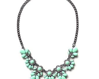 Green statement necklace, mint green bib necklace, gift ideas under 15