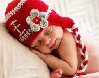Infant Girls Crochet Football Hat - Red and Grey Hat - Redy and Gray Football hat - Great Gift