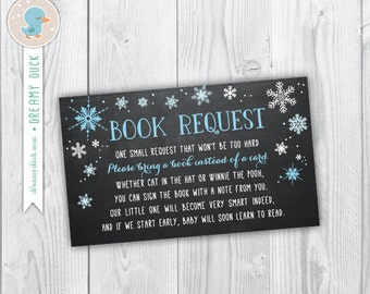 bring a book instead of a card / bring a book baby shower insert / book request / blue chalkboard winter book request / INSTANT DOWNLOAD