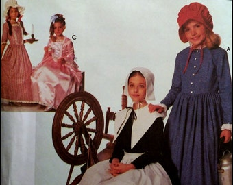 Simplicity 9708  Child's And Girls Puritan, Centennial And 18th Century Costumes  Size (S-M-L)  UNCUT