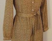 Vintage Tan Floral Dress ...