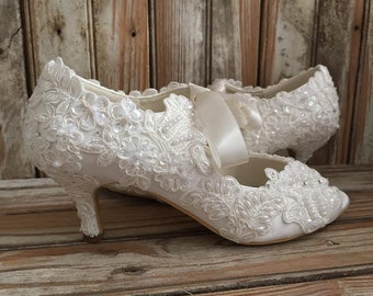 All Lace Victorian Style Bridal Shoe Mid Heel Open Toe Satin Lace Tie Front