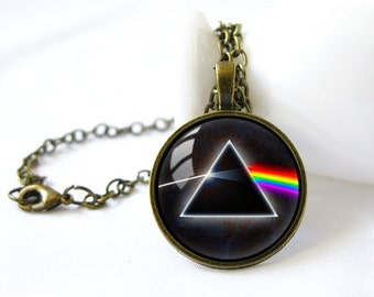 Retro Style Handmade Glass Dome Necklace, Pink Floyd, C-090