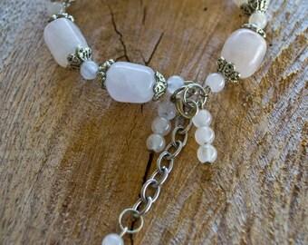 Rose Quartz Bracelet - Gemstone Bracelet - Pink Bracelet - Silver Bracelet -Romantic Bracelet-Adjustable Bracelet-Love Stone-Reiki Jewellery