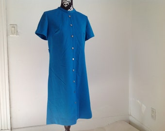 Turquoise Short Sleeve 70's Polyester Dress - Medium