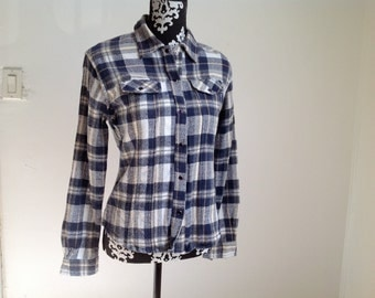 Blue and White Plaid Women's Western-wear Shirt - Medium