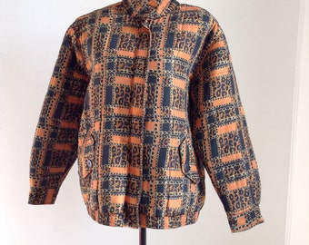 Vintage Silk Quilted Jacket with Orange and Cheetah Print Chain Design