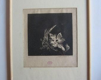 Mimi mponanou woodblock print