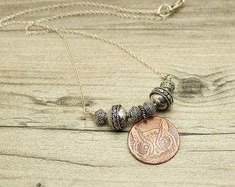 Owl Necklace Bali Silver Bead Necklace Copper And Silver JMK