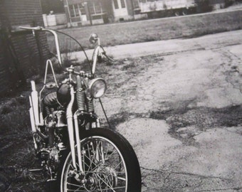 12x12 inch framed Instagram print of Harley-Davidson Knucklehead bobber