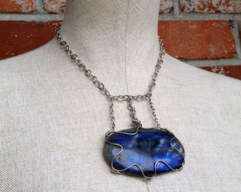 Conjured in Blue- Wire Wrapped Enormous Blue Flash Labradorite Cabochon Bold Statement Necklace
