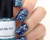 Forget Me Not Glitter Nail Polish Pale Blue Pastel Aquamarine 5 free nail polish handmade indie nail polish vegan cruelty free nail polish
