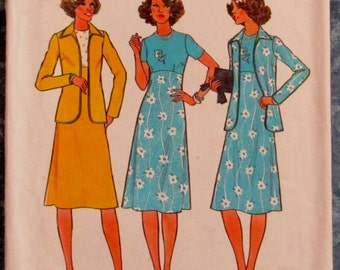 Vintage 1970s Women's Dress and Unlined Jacket Sizes 40 & 42 Sewing Pattern Simplicity 7955