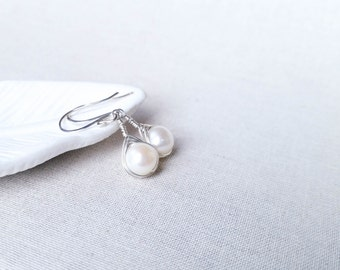 Modern Freshwater Pearl Woven Drops: Sterling Silver Wire Herringbone Wrapped Pearl Bridal / Bridesmaid Earrings Valentine Gift for Her