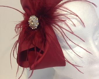 Burgundy Feather Hair Bow Fascinator Headband Fascinator.Bridal Headband, Flower Girl,Bow Feather Headbands.Fancy Girl BoutiqueNYC