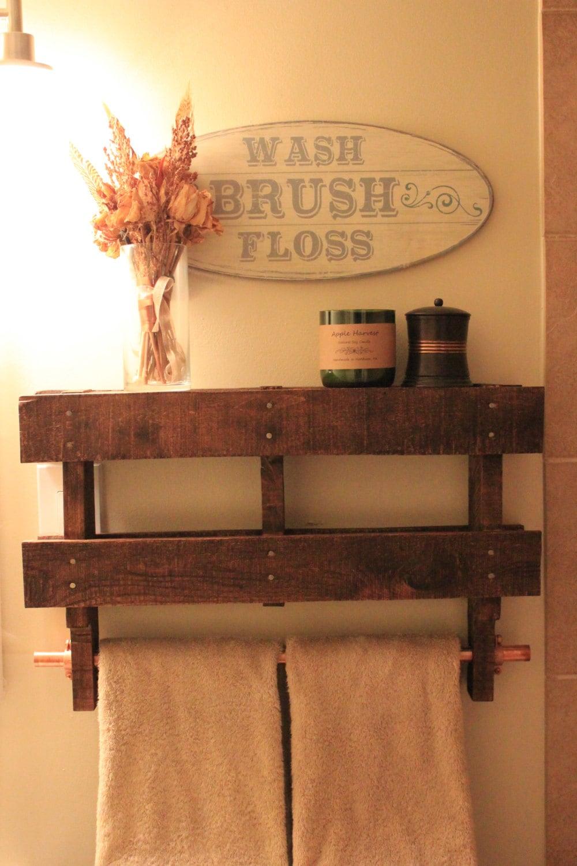 rustic pallet shelf towel rack with copper pipe. Black Bedroom Furniture Sets. Home Design Ideas