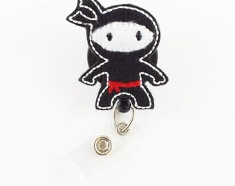 Ninja - Felt Badge Reel - Teacher Badge Holder - Nurse Badge Reel - Retractable ID Badge - Cute Badge Reels - Peds - Sports - RN Badge Clip