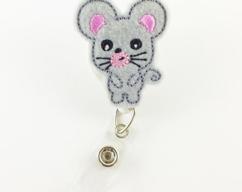 Mouse - Nurse Badge Holder - Felt Badge Reel - Name Badge Reel - RN Badge Clip - Badge ID Reels - Cute Badge Reels - Badge ID Holder