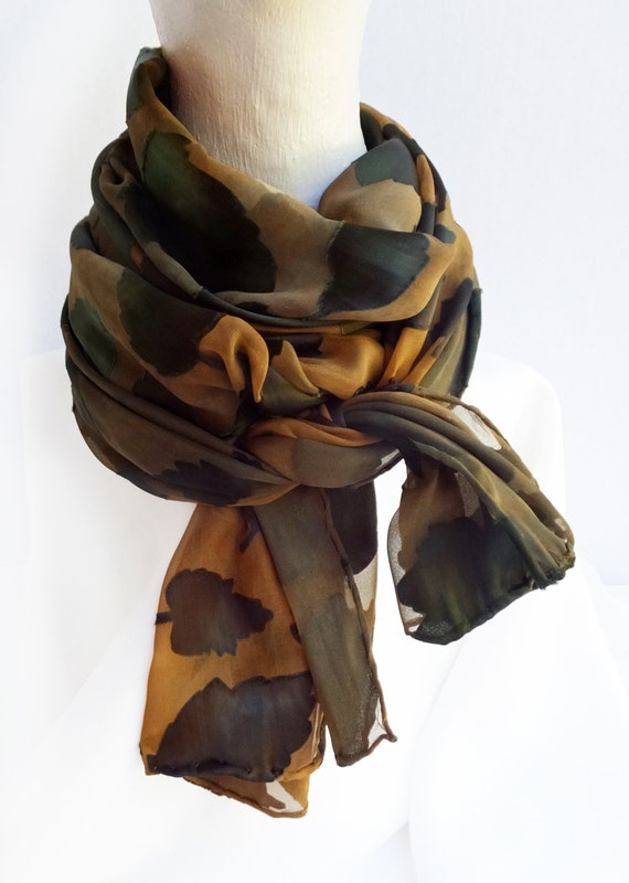 """Cut satin scarf - burnout silk scarf - fall scarf - brown, rust, golden brown, tan  - hand dyed - 14"""" x 72"""" - leaves"""