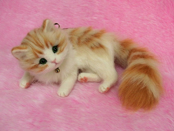 Needle Felted Cute Fluffy Kitten Orange Tabby: Miniature Wool