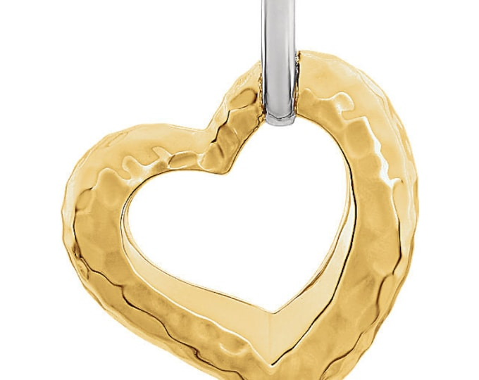 14kt Two-Tone Hammered Heart Pendant ~ FREE SHIPPING ~ Great Gift