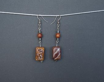 Polymer clay earrings Candy earrings Brown earrings OOAK earrings Dangle earrings Sweet earrings Casual earrings Golden Long earrings