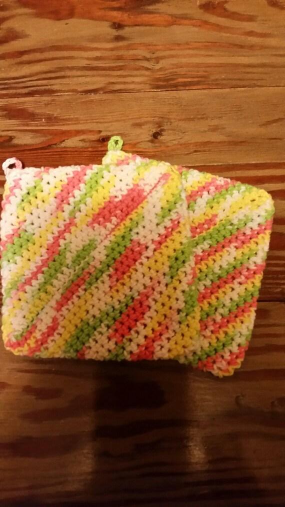 Multi Color Crocheted Pot Holder (set of 2)
