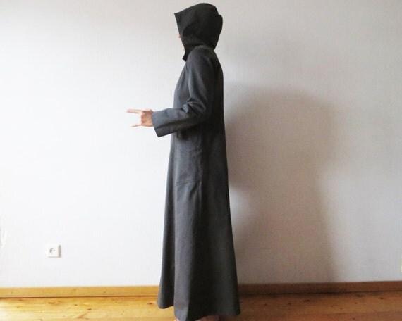 dunkelgrau mit kapuze mantel maxi womens trenchcoat lange. Black Bedroom Furniture Sets. Home Design Ideas