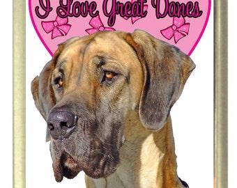I Love Great Danes Dog Fridge Magnet 7cm by 4.5cm,