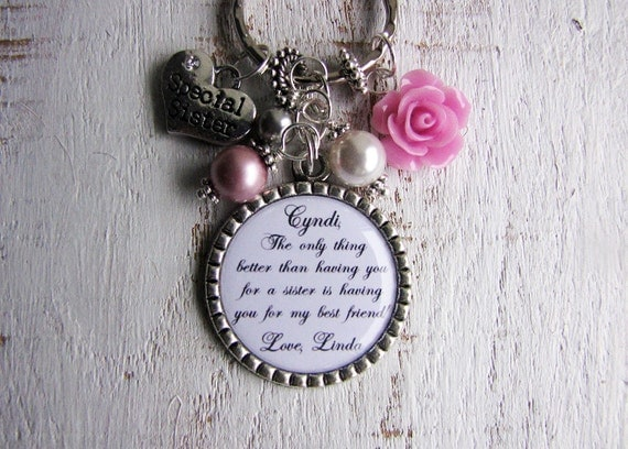 Keychain For Wedding Gift : ... of Honour Gifts Personalized Wedding Party Gift Necklace or Keychain